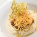 Baccalà fritto con crema di patate al timo