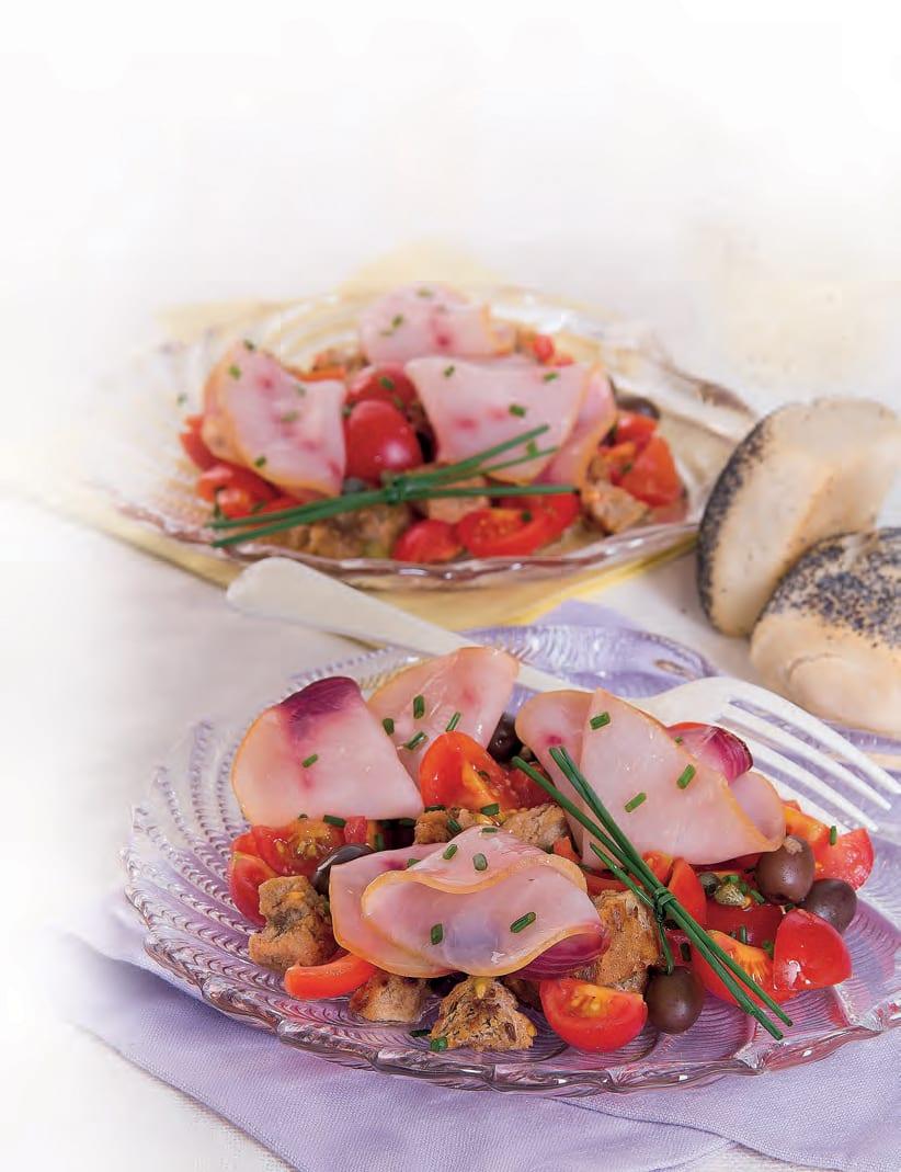 Insalata con pesce spada affumicato e olive taggiasche