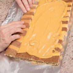 Rotolo di pasta biscotto bicolore con crema al caramello