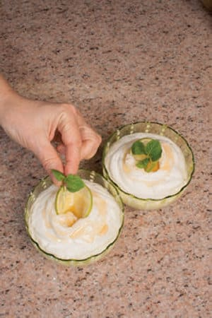 Semifreddo al Mojito con sciroppo di lime e rum