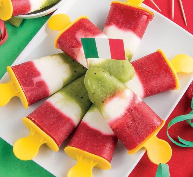 Ghiaccioli tricolore con anguria, yogurt e fragola