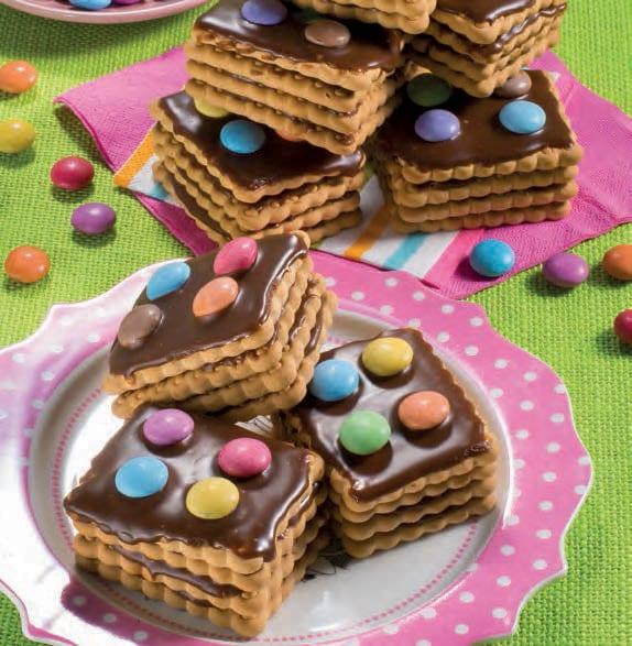 Mattoncini di biscotti con ganache al cioccolato