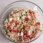 Insalata di riso con prosciutto cotto e piselli