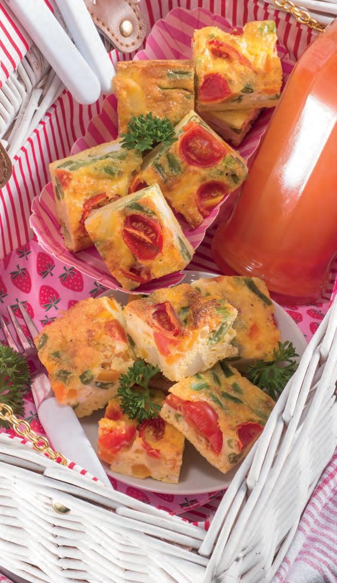 Frittata veloce con fagiolini, carote e pomodorini