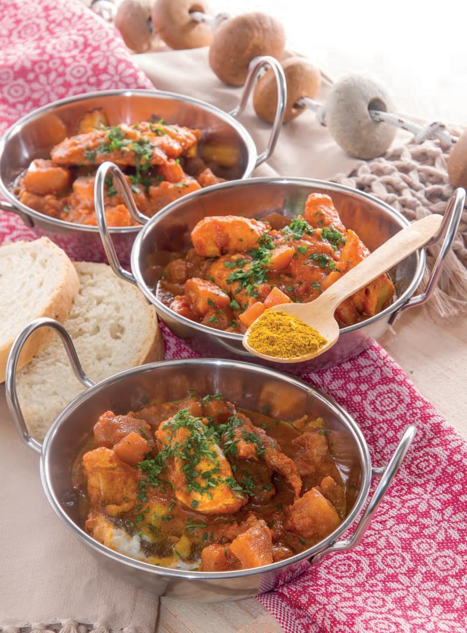 Zuppa di patate con tranci di nasello e curry piccante