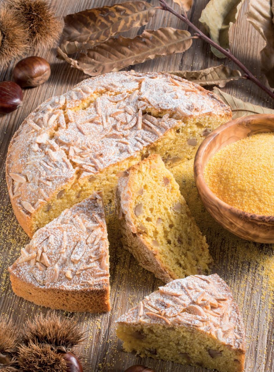 Torta con farina di mais, castagne e mandorle