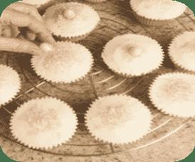muffins con vaniglia, mandorle e dragés
