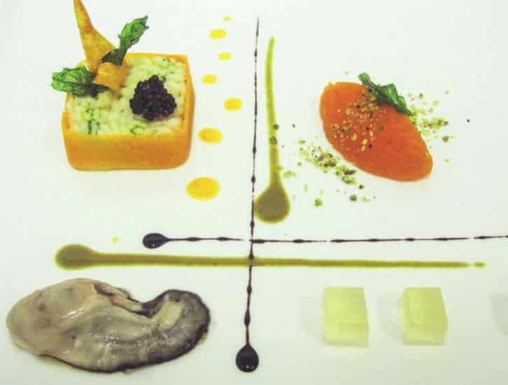 Risotto con ostrica, caviale e gelatina di champagne