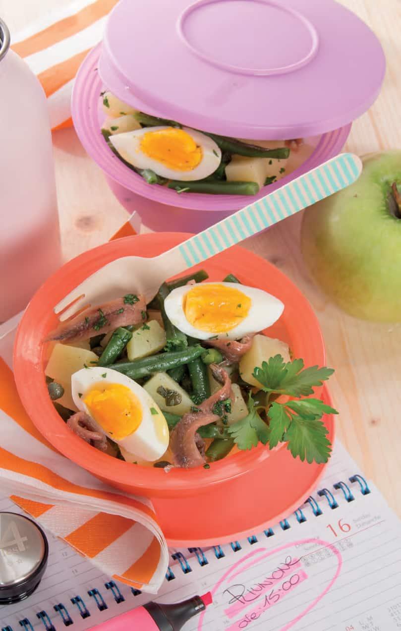 Insalata di patate e fagiolini con le uova sode
