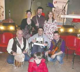 """L'ensemble """"The book of keels"""". Ethel Onnis, voce; Silvio Cortassa, percussioni; Michela Varda, pianoforte; Enrico Fuscà, violino; Marco Allora, flauto"""