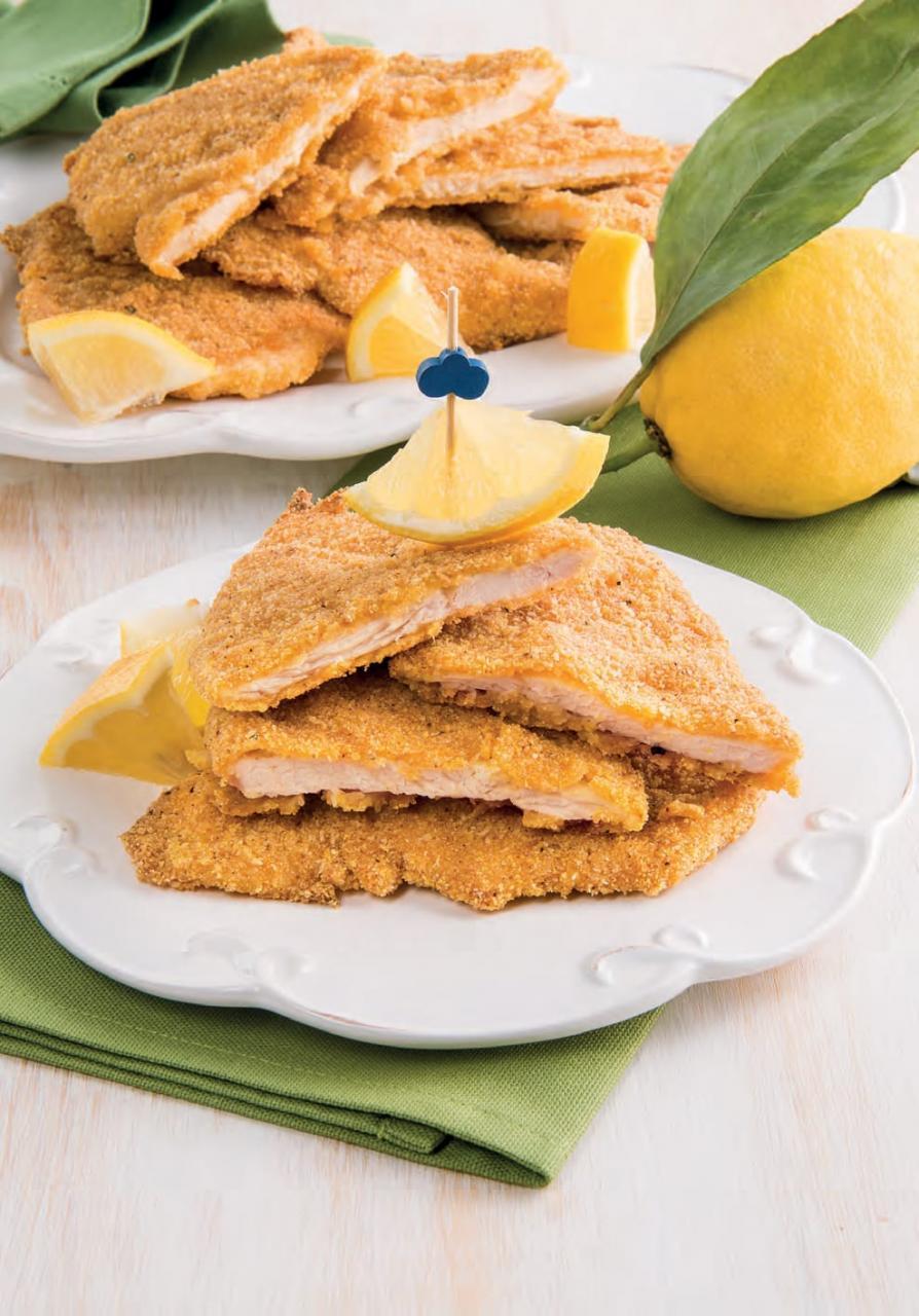 Cotolette di pollo con panatura alla paprika e limone