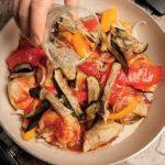 Pollo alla catalana con peperoni e melanzane