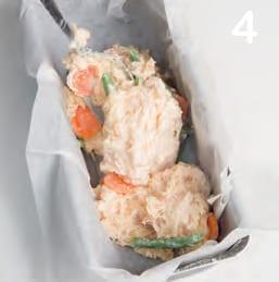 Sformato cremoso di pollo e verdure con insalatina