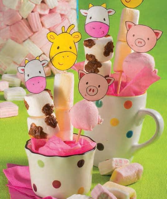 Gli animaletti di marshmallow: mucca, maialino e giraffa animali