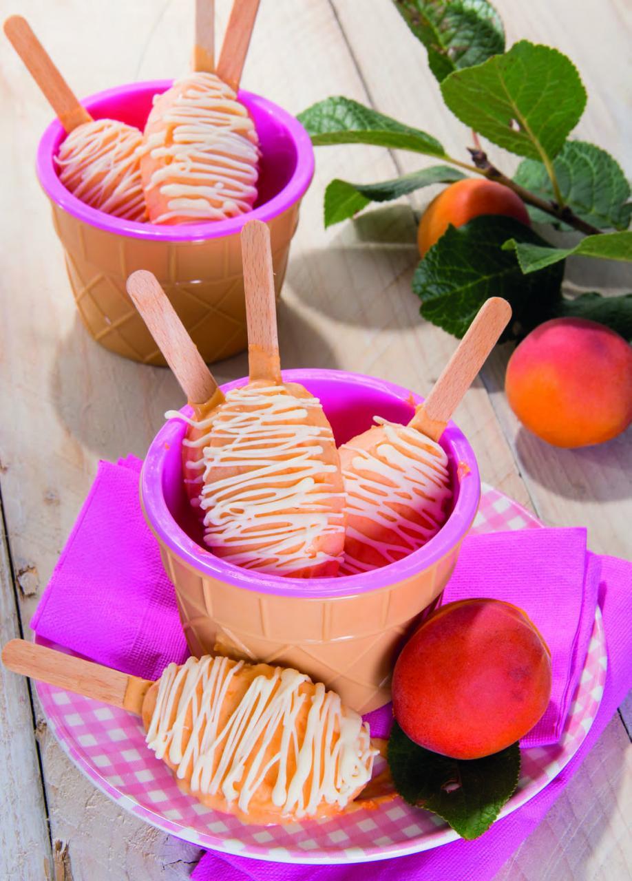 Stecco gelato alle albicocche e cioccolato bianco