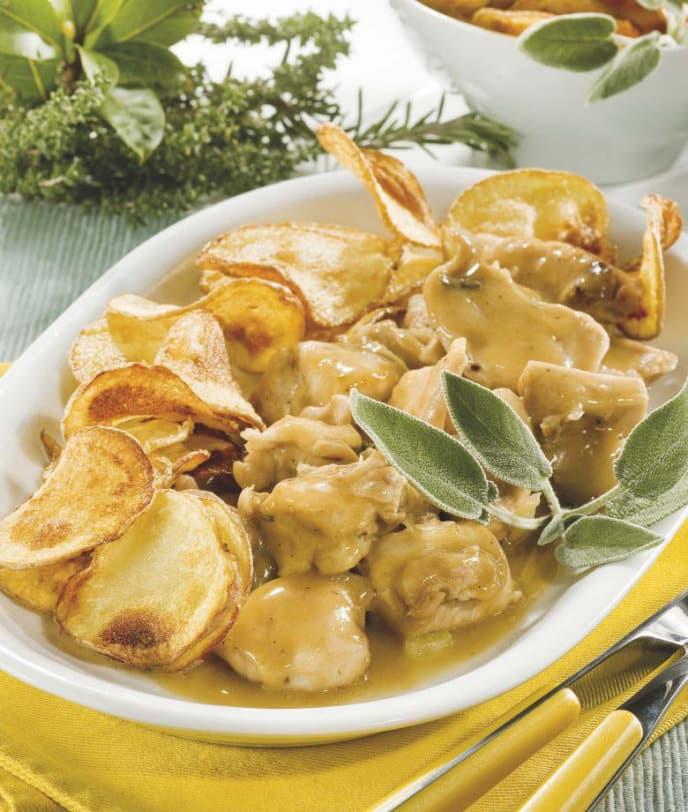 Spezzatino di coniglio al Marsala con chips di patate