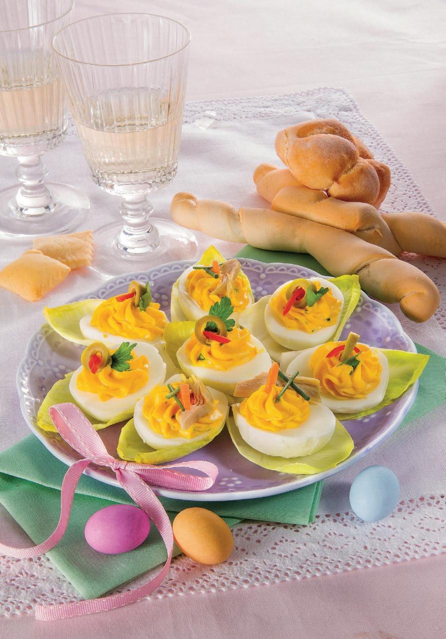 Uova sode con maionese e carciofini