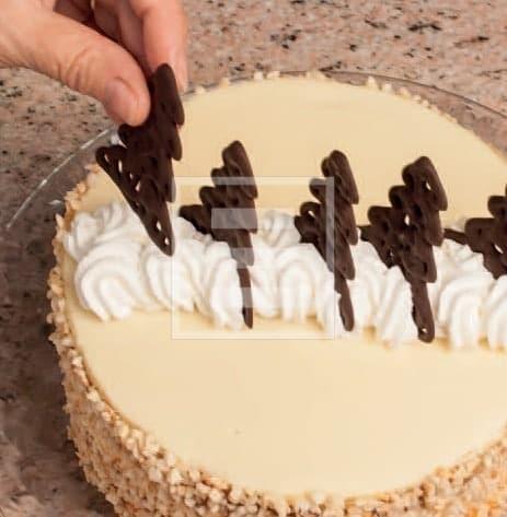 Torta chic con crema al cioccolato bianco e decori di cioccolato