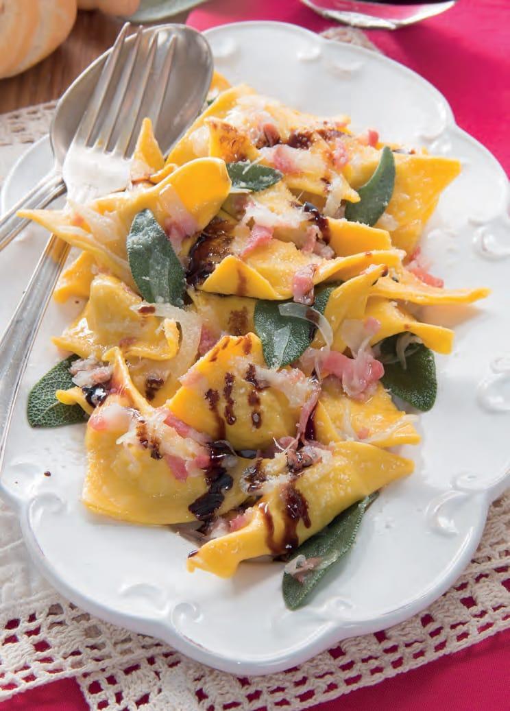 Ravioli di magro con pancetta e aceto balsamico