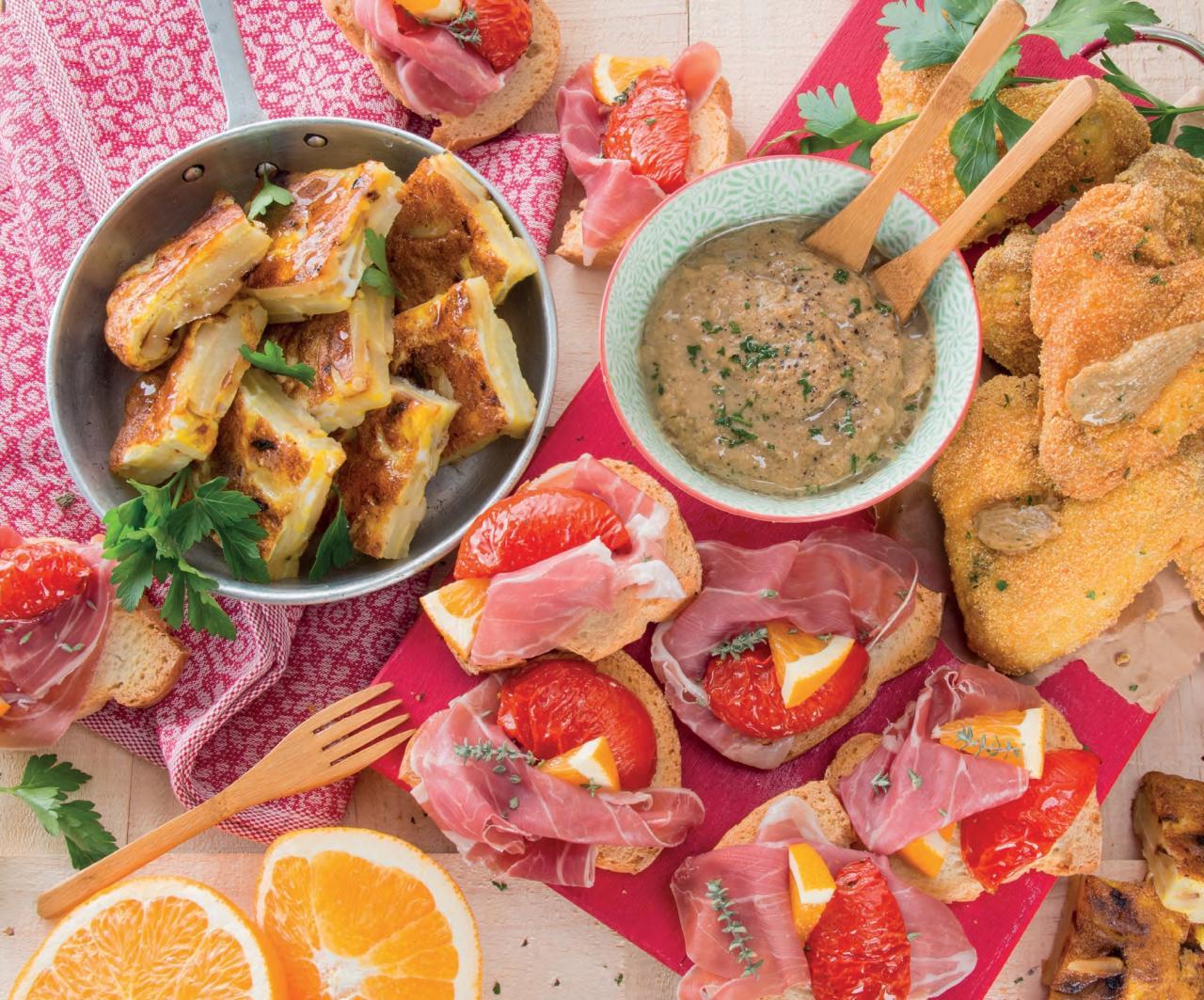 Tapas agrodolci al prosciutto, pomodori e arancia