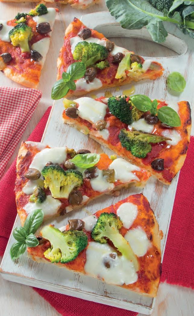 Pizza con broccoli, acciughe e olive