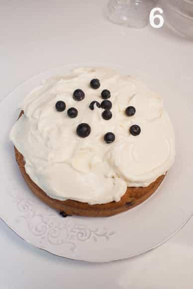 Torta allo yogurt e panna con crema al formaggio e mirtilli