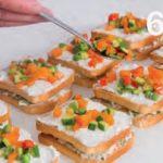 Sandwich di fette biscottate con mascarpone, gorgonzola e verdure