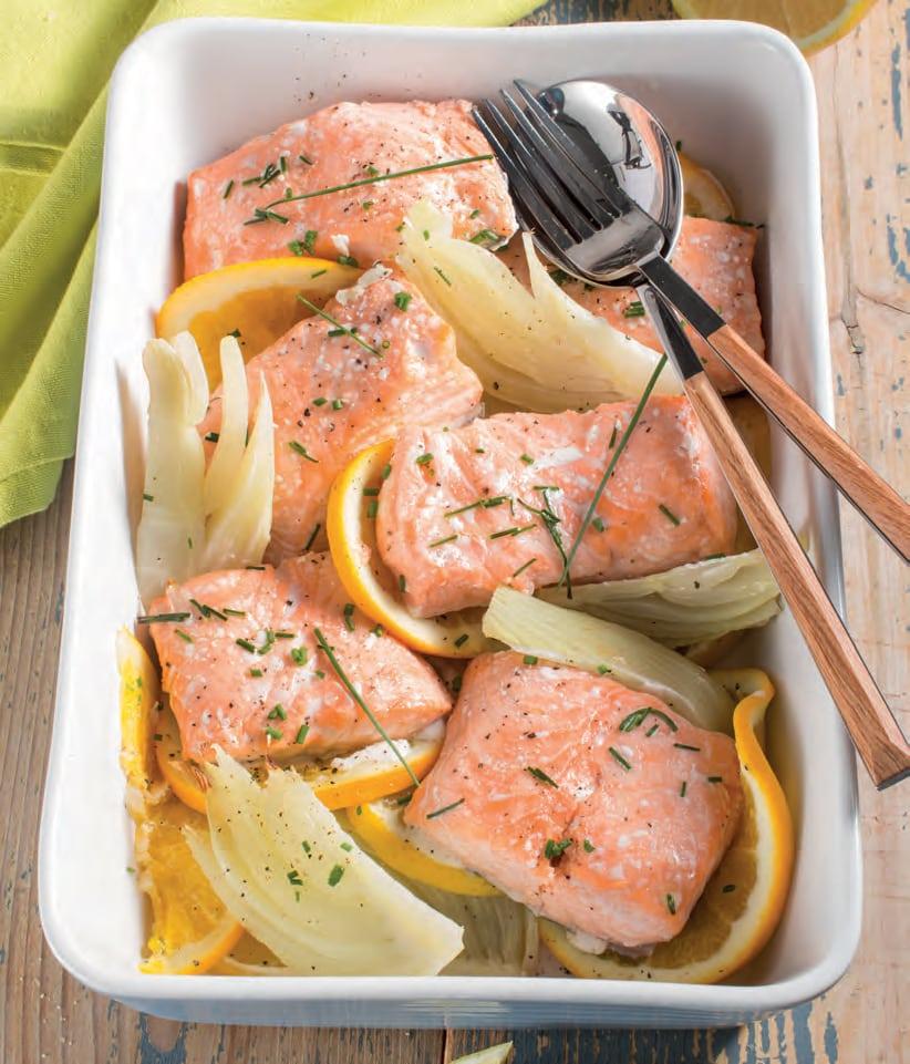 Salmone al forno con arancia e finocchi
