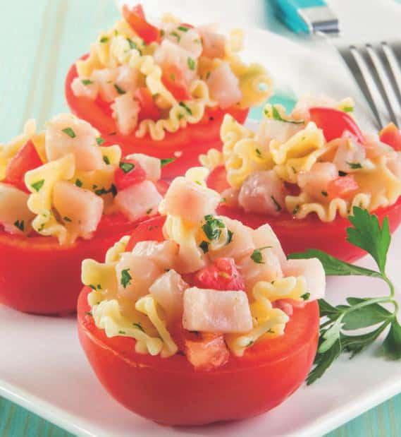 Pomodori ripieni di pasta con pesce spada e limone
