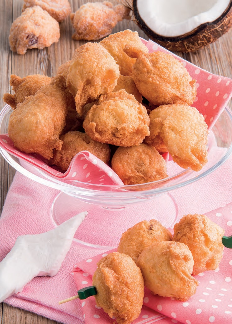 Frittelle con uvetta passa e farina di cocco