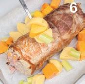 Arrosto di maiale farcito con zucca e salsiccia