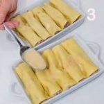Cannelloni fatti in casa con provolone e carne di manzo