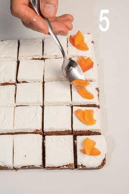 Bocconcini di torta al cioccolato con farcia di yogurt e albicocche