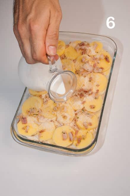 Tortino di patate con pancetta affumicata e panna