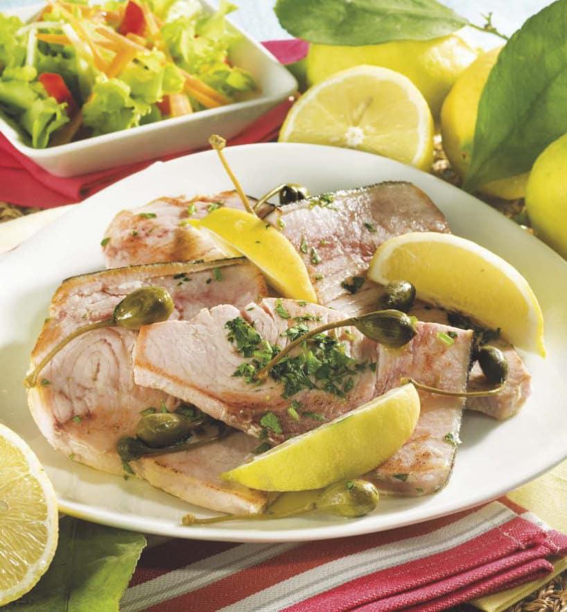 Trancio di pesce spada con capperi e limone