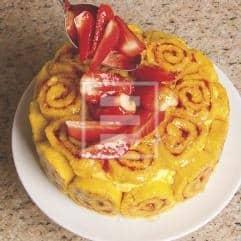 torta rotolo pasta biscotto crema fragole ricetta