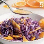 Cavolo cappuccio rosso in insalata con uvetta e arancia