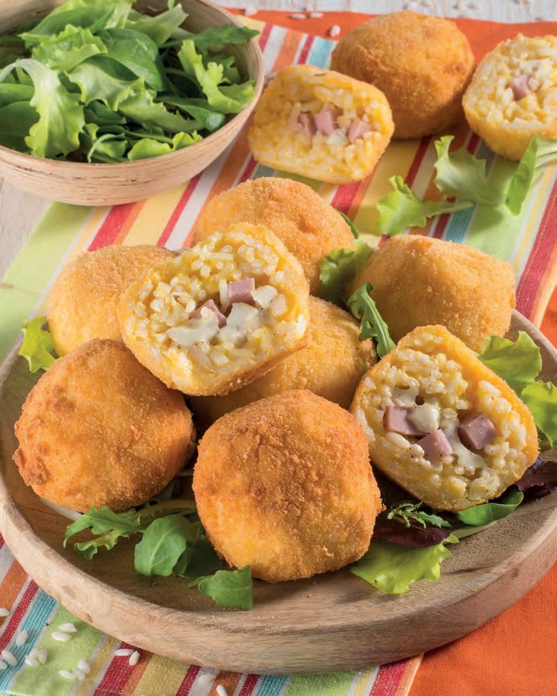 Supplì o arancini di riso al prosciutto cotto e mozzarella