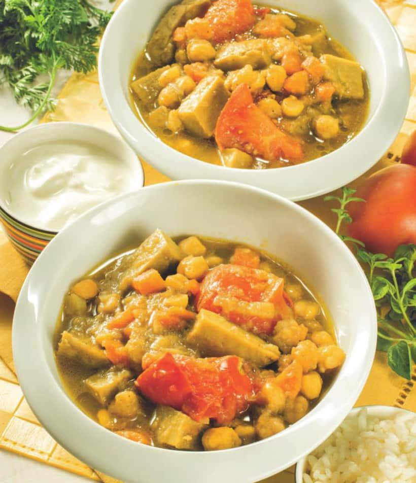Minestra di seitan: ricetta vegetariana con curry e ceci