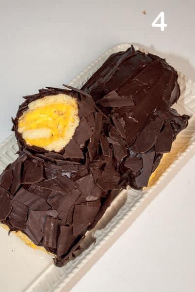 Tronchetto di Natale con crema di torrone e cioccolato croccante