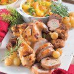 Arrosto di pollo e coniglio con verdure gratinate