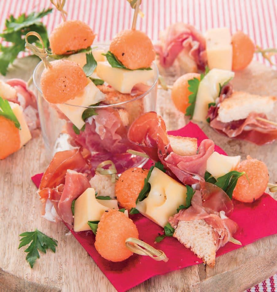Spiedini con prosciutto crudo e melone cantalupo