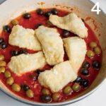 Ricetta del baccalà al sugo con olive e pinoli