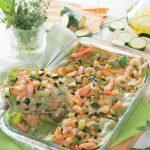 Lasagne verdi con trota, gamberetti e zucchine