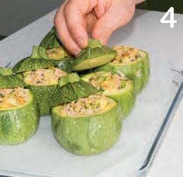 Zucchine tonde ripiene di mortadella e pecorino