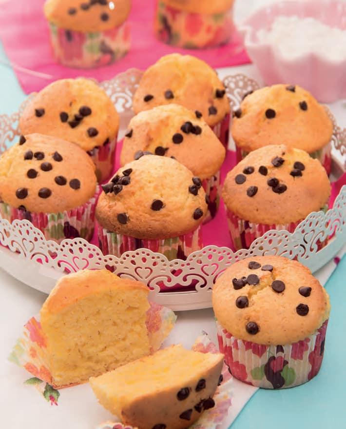 Muffin con fiocchi di latte e gocce di cioccolato