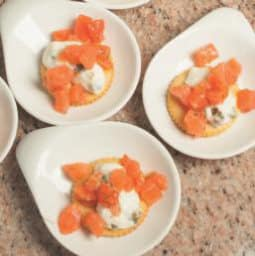 Cracker con tartare di salmone, squacquerone e aneto