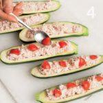 Zucchine ripiene con mousse di mortadella e pomodorini