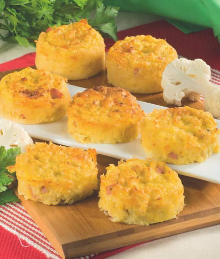 Tortini di cavolfiore, patate e prosciutto cotto