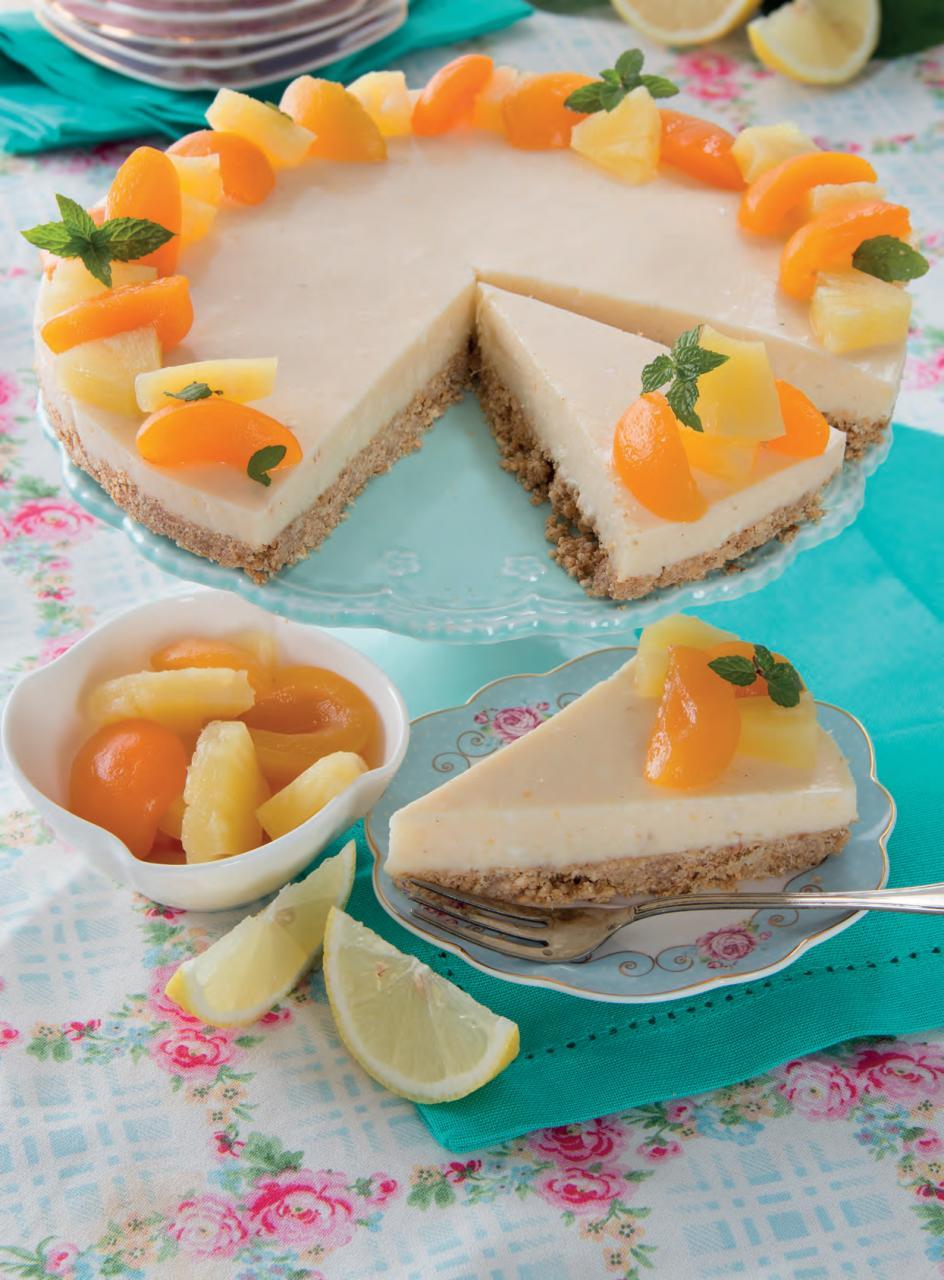 Cheesecake con albicocche e ananas